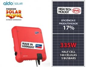 GERADOR DE ENERGIA SMA COLONIAL S GROUP ALDO SOLAR GEF 6,03KWP BYD POLI HALF CELL SUNNY BOY 5KW 2MPPT MONO 220V