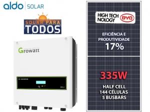 GERADOR DE ENERGIA GROWATT S/ ESTRUTURA ALDO SOLAR GEF 10,05KWP BYD POLI HALF CELL MTL-S 8KW 2MPPT MONO 220V