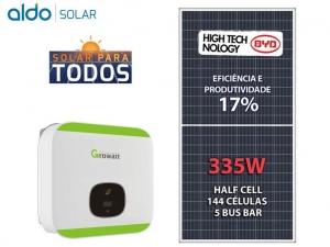 GERADOR DE ENERGIA GROWATT P MADEIRA K2 ALDO SOLAR GEF 4,02KWP BYD POLI HALF CELL MIN 3KW 2MPPT MONO 220V