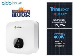 GERADOR DE ENERGIA GROWATT S/ ESTRUTURA ALDO SOLAR GEF 8KWP TRINA MONO PERC HALF CELL 400W MIN 6KW 2MPPT MONO 220V