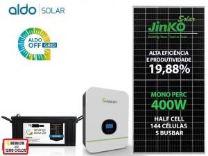 GERADOR DE ENERGIA GROWATT OFF SEM ESTR ALDO SOLAR GF 1,6KWP SPF 3KVA MPPT MONO 120V ENERGY SOURCE LITIO 4,34KWH