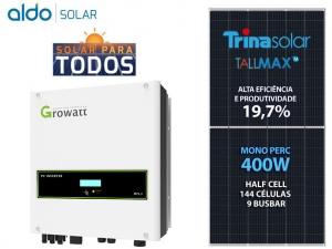 GERADOR DE ENERGIA GROWATT S/ ESTRUTURA ALDO SOLAR GEF 9,6KWP TRINA MONO PERC HALF CELL 400W MTL-S 8KW 2MPPT MONO 220V