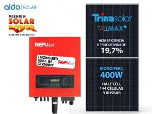 GERADOR DE ENERGIA REFUSOL S/ ESTRUTURA ALDO SOLAR GEF 8KWP TRINA MONO PERC HALF CELL 400W ONE 7.5KW 2MPPT MONO 220V