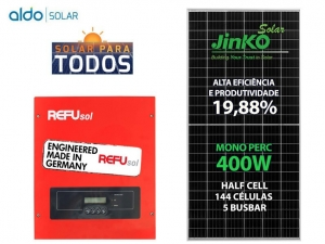 GERADOR DE ENERGIA REFUSOL S/ ESTRUTURA ALDO SOLAR GEF 8KWP JINKO MONO PERC HALF CELL 400W ONE 7.5KW 2MPPT MONO 220V