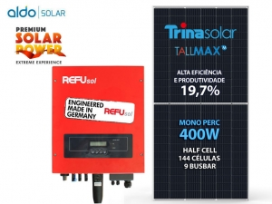 GERADOR DE ENERGIA REFUSOL S/ ESTRUTURA ALDO SOLAR GEF 9,6KWP TRINA MONO PERC HALF CELL 400W ONE 7.5KW 2MPPT MONO 220V
