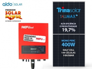 GERADOR DE ENERGIA REFUSOL S/ ESTRUTURA ALDO SOLAR GEF 4KWP TRINA MONO PERC HALF CELL 400W ONE 3KW 2MPPT MONO 220V