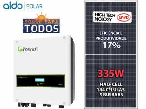 GERADOR DE ENERGIA GROWATT S/ ESTRUTURA ALDO SOLAR GEF 10,72KWP BYD POLI HALF CELL MTL-S 8KW 2MPPT MONO 220V