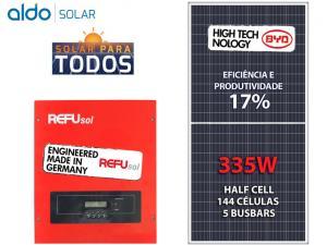 GERADOR DE ENERGIA REFUSOL S/ ESTRUTURA ALDO SOLAR GEF 3,35KWP BYD POLI HALF CELL ONE 3KW 2MPPT MONO 220V