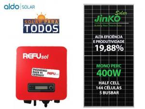 GERADOR DE ENERGIA REFUSOL S/ ESTRUTURA ALDO SOLAR GEF 1,6KWP JINKO MONO PERC HALF CELL 400W ONE 1.6KW 1MPPT MONO 220V