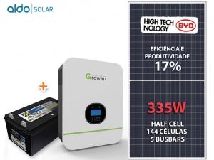 GERADOR DE ENERGIA GROWATT BACKUP ALDO SOLAR GF 1,005KWP SPF 3KVA MPPT MONO 120V 9,6KWH