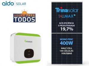 GERADOR DE ENERGIA GROWATT S/ ESTRUTURA ALDO SOLAR GEF 1,2KWP TRINA MONO PERC HALF CELL 400W MIC 1KW 1MPPT MONO 220V