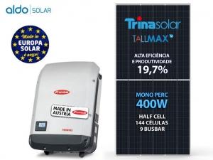 GERADOR DE ENERGIA FRONIUS S/ ESTRUTURA ALDO SOLAR GEF 6,4KWP TRINA MONO PERC HALF CELL 400W PRIMO 5KW 2MPPT MONO 220V