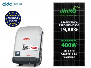 GERADOR DE ENERGIA FRONIUS S/ ESTRUTURA ALDO SOLAR GEF 7,2KWP JINKO MONO PERC HALF CELL 400W PRIMO 6KW 2MPPT MONO 220V