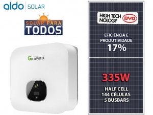 GERADOR DE ENERGIA GROWATT S/ ESTRUTURA ALDO SOLAR GEF 7,37KWP BYD POLI HALF CELL MIN 6KW 2MPPT MONO 220V