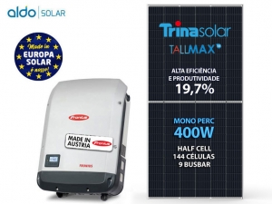 GERADOR DE ENERGIA FRONIUS S/ ESTRUTURA ALDO SOLAR GEF 4KWP TRINA MONO PERC HALF CELL 400W PRIMO 3KW 2MPPT MONO 220V