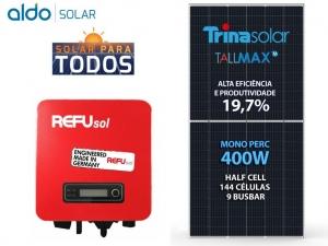 GERADOR DE ENERGIA REFUSOL S/ ESTRUTURA ALDO SOLAR GEF 1,6KWP TRINA MONO PERC HALF CELL 400W ONE 1.6KW 1MPPT MONO 220V