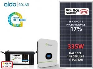 GERADOR DE ENERGIA GROWATT OFF SEM ESTR ALDO SOLAR GF 2,01KWP SPF 3KVA MPPT MONO 120V ENERGY SOURCE LITIO 4,34KWH
