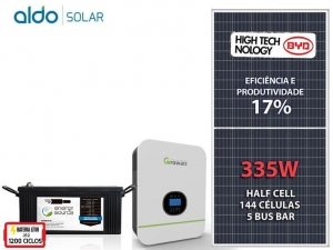 GERADOR DE ENERGIA GROWATT BACKUP ALDO SOLAR GF 1,005KWP SPF 3KVA MPPT MONO 120V ENERGY SOURCE LITIO 4,34KWH