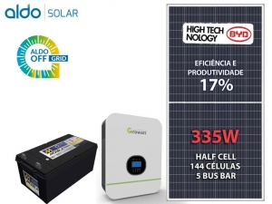 GERADOR DE ENERGIA GROWATT OFF 55CM ROMA ALDO SOLAR GF 1,34KWP SPF 3KVA MPPT MONO 120V 4,8KWH