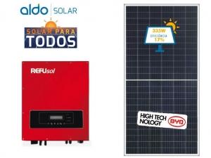 GERADOR DE ENERGIA REFUSOL S/ ESTRUTURA ALDO SOLAR GEF 8,71KWP BYD POLI HALF CELL ONE 7.5KW 2MPPT MONO 220V