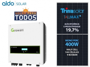 GERADOR DE ENERGIA GROWATT S/ ESTRUTURA ALDO SOLAR GEF 8,8KWP TRINA MONO PERC HALF CELL 400W MTL-S 8KW 2MPPT MONO 220V