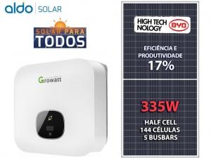 GERADOR DE ENERGIA GROWATT S/ ESTRUTURA ALDO SOLAR GEF 6,7KWP BYD POLI HALF CELL MIN 6KW 2MPPT MONO 220V