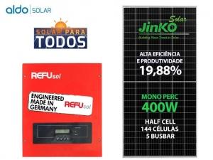 GERADOR DE ENERGIA REFUSOL S/ ESTRUTURA ALDO SOLAR GEF 4KWP JINKO MONO PERC HALF CELL 400W ONE 3KW 2MPPT MONO 220V