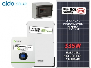 GERADOR DE ENERGIA GROWATT BACKUP ALDO SOLAR GF 1,34KWP SPF 3KVA MPPT MONO 120V DYNESS LITIO 3,84 KWH