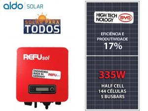 GERADOR DE ENERGIA REFUSOL S/ ESTRUTURA ALDO SOLAR GEF 2,01KWP BYD POLI HALF CELL ONE 1.6KW 1MPPT MONO 220V