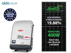 GERADOR DE ENERGIA FRONIUS S/ ESTRUTURA ALDO SOLAR GEF 4KWP JINKO MONO PERC HALF CELL 400W PRIMO 3KW 2MPPT MONO 220V