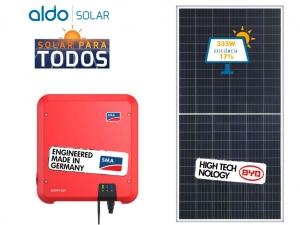 GERADOR DE ENERGIA SMA ONDULADA ALDO SOLAR GEF 6,7KWP BYD POLI HALF CELL SUNNY BOY 5KW 2MPPT MONO 220V