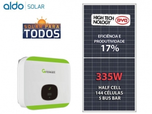 GERADOR DE ENERGIA GROWATT P MADEIRA ROM ALDO SOLAR GEF 4,02KWP BYD POLI HALF CELL MIN 3KW 2MPPT MONO 220V
