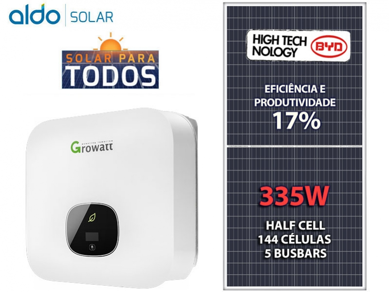 GERADOR DE ENERGIA GROWATT S/ ESTRUTURA ALDO SOLAR GEF 5,36KWP BYD POLI HALF CELL MIN 5KW 2MPPT MONO 220V