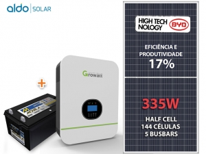 GERADOR DE ENERGIA GROWATT BACKUP ALDO SOLAR GF 1,005KWP SPF 3KVA MPPT MONO 230V 9,6KWH