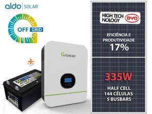 GERADOR DE ENERGIA GROWATT OFF SEM ESTR ALDO SOLAR GF 1,34KWP SPF 3KVA MPPT MONO 120V 4,8KWH