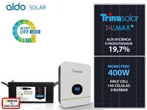 GERADOR DE ENERGIA GROWATT OFF 55CM ROMA ALDO SOLAR GF 1,6KWP SPF 3KVA MPPT MONO 120V ENERGY SOURCE LITIO 4,34KWH