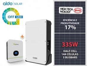 GERADOR DE ENERGIA GROWATT OFF SOLO ROM ALDO SOLAR GF 2,01KWP SPF 3KVA MPPT MONO 120V DYNESS LITIO 3,84 KWH